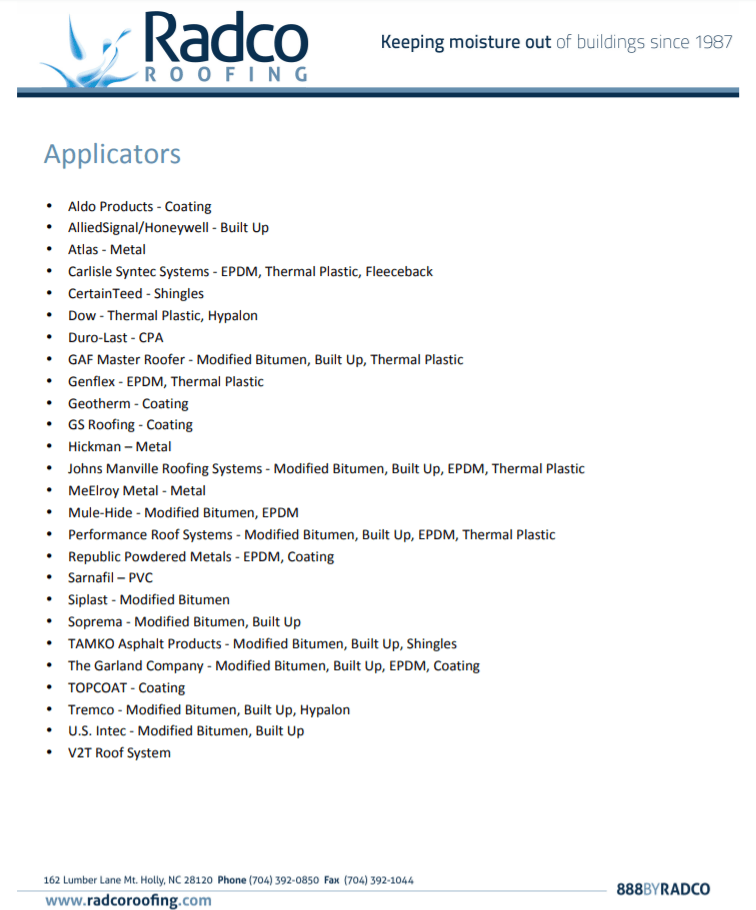 Radco Applicators List