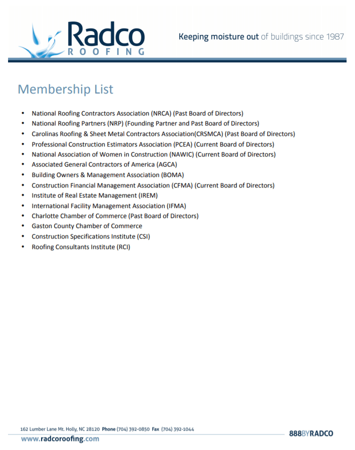 Radco Membership List
