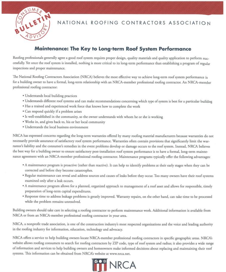 NRCA Maintenance