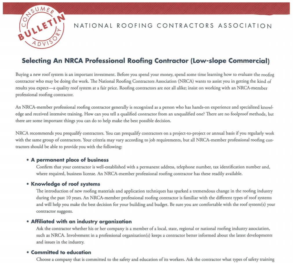 Selecting NRCA Contractor