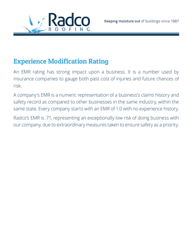 RadcoRoofing EMR Rating Sales