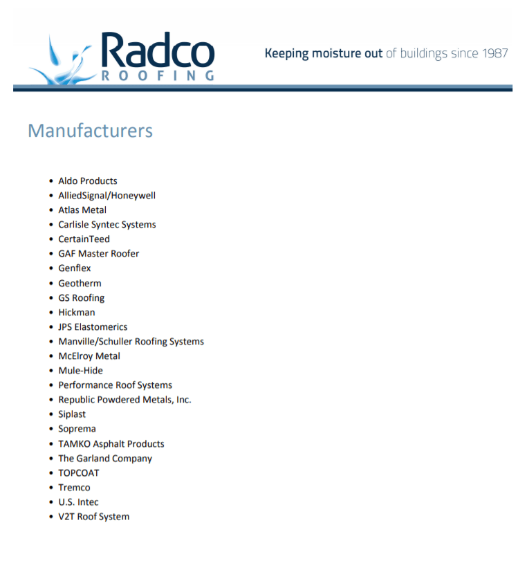 Radco Manufacturers List