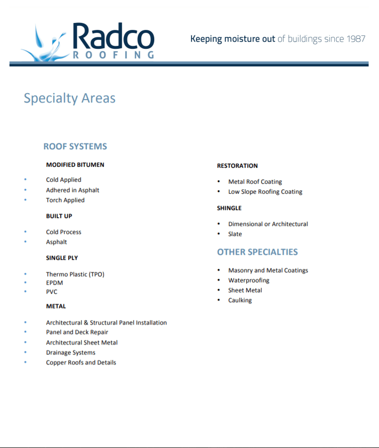 Radco Specialty Areas